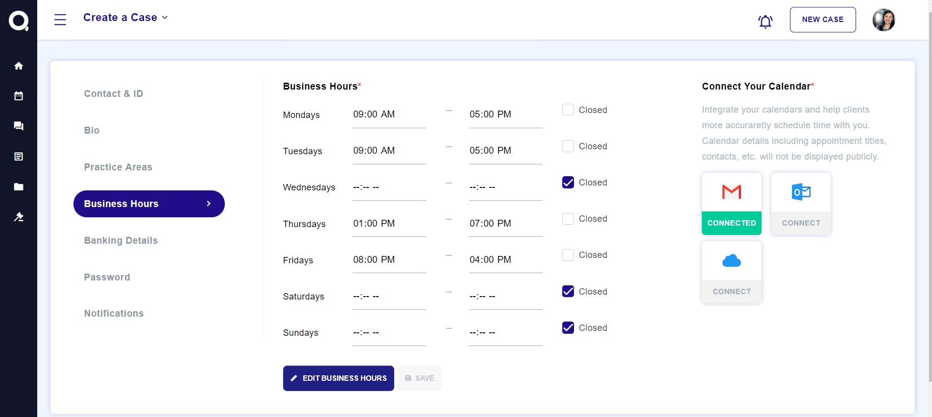 business hrs calendar
